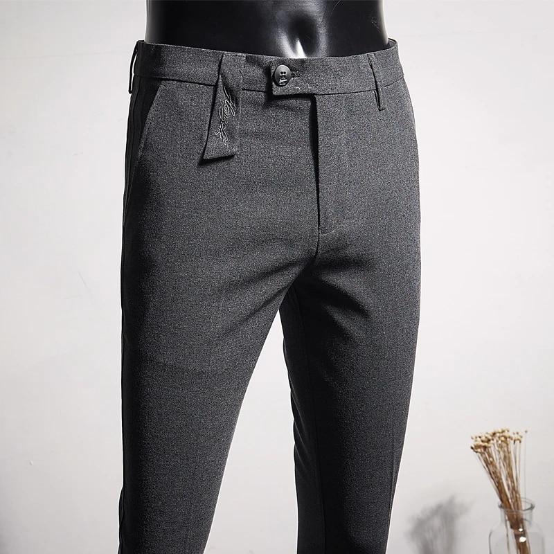Mallas Tobilleras Bordadas Para Hombre Pantalon Negro Y Gris 28 36 Moda Para Adolescentes Pantalones Informales De Negocios Pantalones Informales Aliexpress