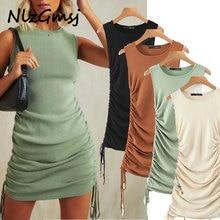 2020 ins blogger vintage sold pleated sheath knitted summer dress women vestidos