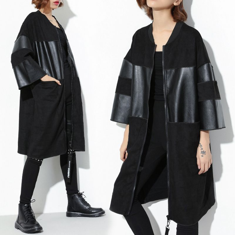 Autumn Winter Black PU Leather   Trench   Coat Female Long Sleeve Women's Windbreaker Overcoat Big Sizes Casual Clothes Female 2019
