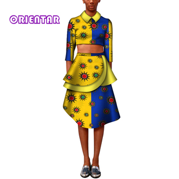 2 Piece Set African Clothes for Women African Wax Print Crop Tops and Skirt Set Fashion Women African Skirts Suits WY7141