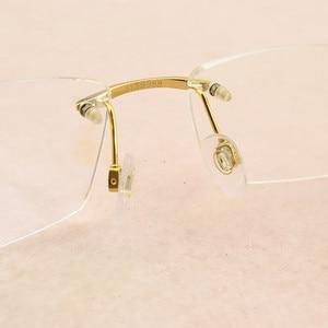 Image 5 - Square Frameless titanium glasses frame men optical glasses frame women Retro eyeglasses frame Womens spectacle frames Mens