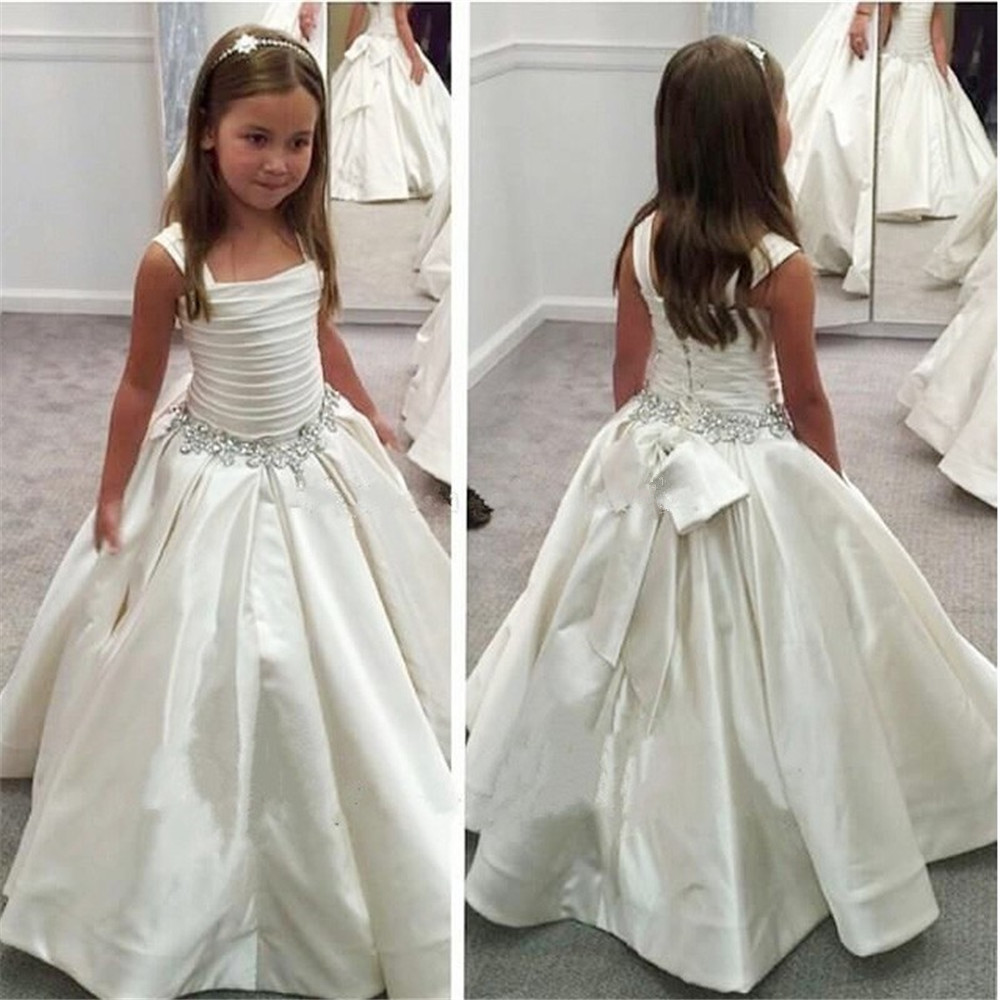 White Flower Girl Dresses For Wedding Party Embroidered Sleeveless Princess Girl Formal Dress First Communion Dress