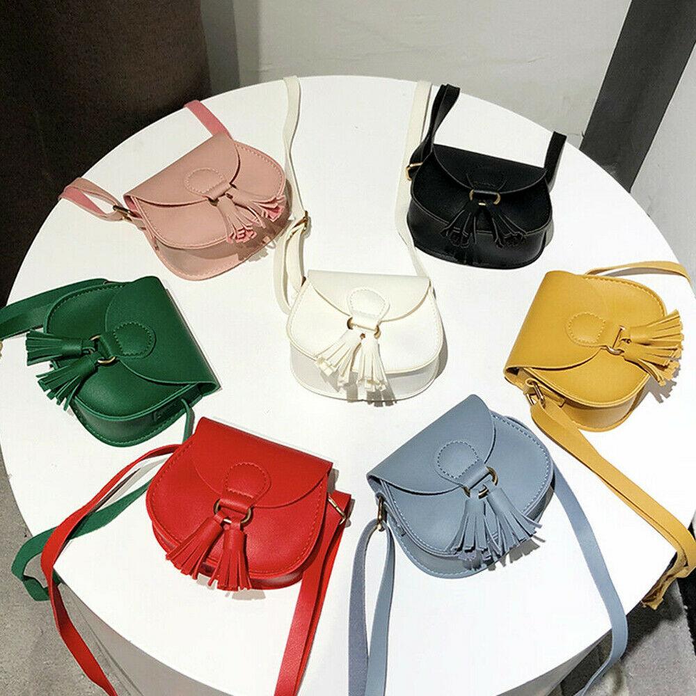 7 Colors Children Girls Small Shoulder Bag Leather Tassel Waist Bag Crossbody Handbag Kids Messenger Wholesale Gifts