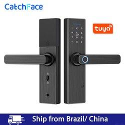 Brazylia magazynu Tuya Smart aplikacji zamek do drzwi z czytnikiem linii papilarnych karta rfid kod cyfrowy elektroniczny zamek do drzwi bezpieczeństwo w domu zamek wpuszczany|Zamki elektryczne|Bezpieczeństwo i ochrona -