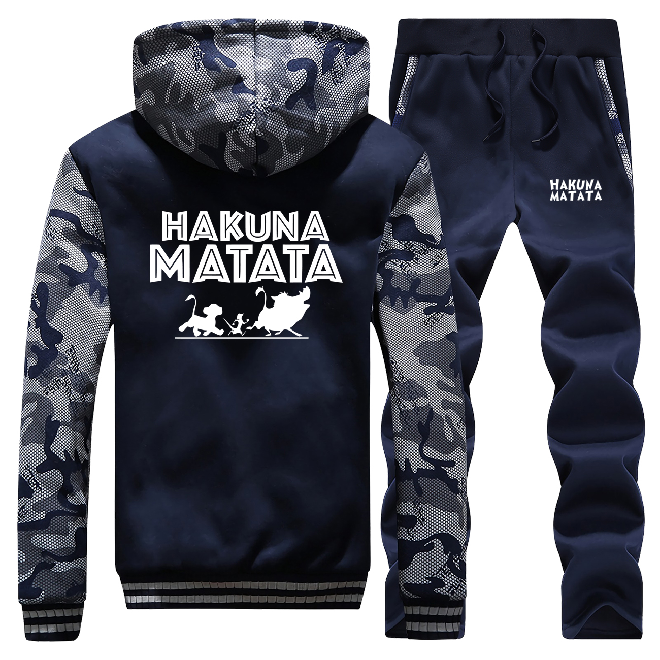 The Lion King Camo Men's Sets Hakuna Matata Anime Jacket Set 2019 Winter Thick Pants Sweatshirts Fleece Mens Full Suit Tracksuit
