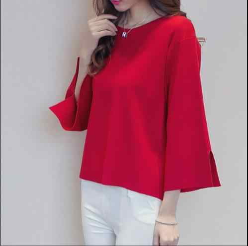 Round Neck Knitted Women 2020 Autumn Winter 2020 Blusas Pullovers Split Cuff Loose Jumper Female Lady Oversize Red Sweater E494