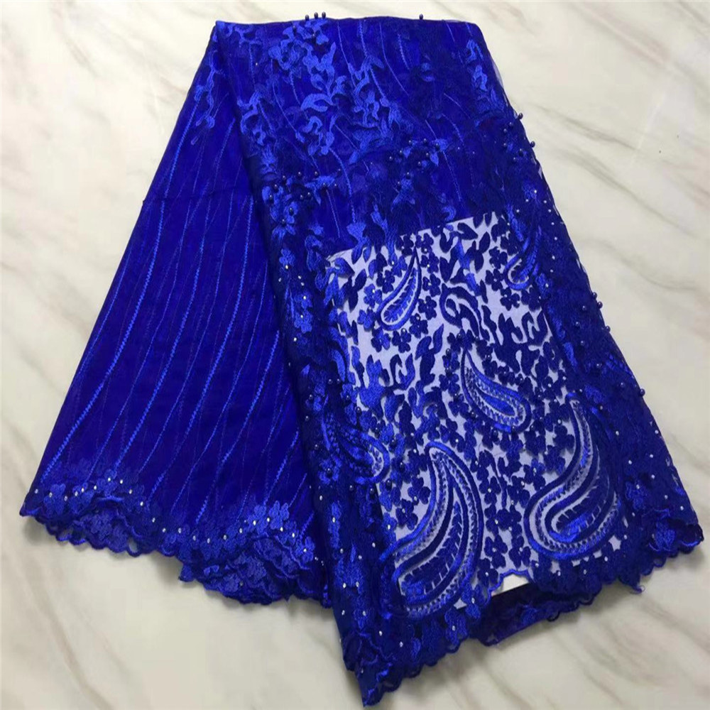 Hot Sale French Swiss Beads Tulle Lace Fabric With Pearls African Nigeria Floral Pattren Net Lace Fabrics For DIY Women Dresses