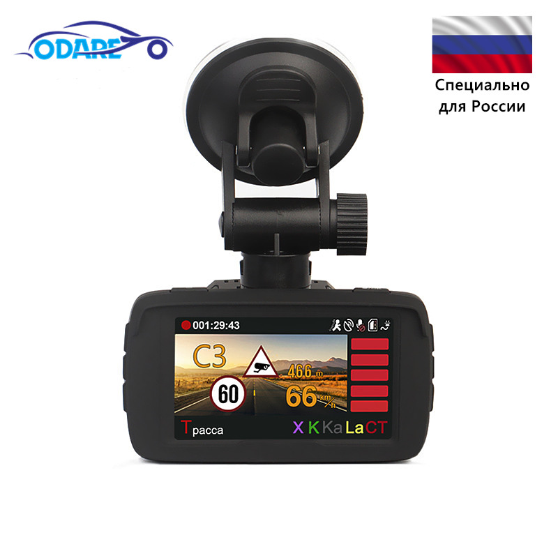 Odare <font><b>Car</b></font> <font><b>DVR</b></font> <font><b>radar</b></font> <font><b>detector</b></font> <font><b>gps</b></font> <font><b>3</b></font> <font><b>in</b></font> <font><b>1</b></font> HD1296P 170 Degree Angle Russian Language <font><b>car</b></font> <font><b>dvr</b></font> logger Ambarel Dash Cam Video Recorder image
