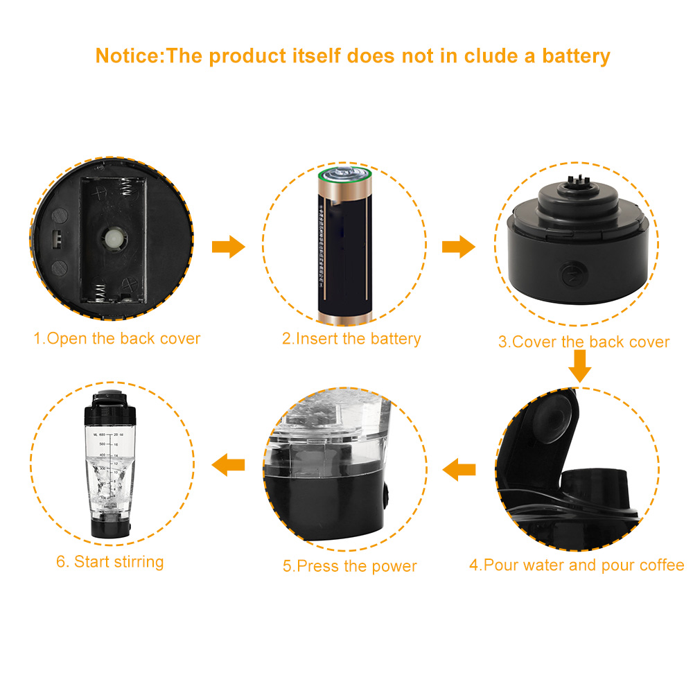 Hc0e7ca750022464487b1cd7a878807124 600ML Shaker Cup Electric Blender Protein Shaker Bottle Brewing Powder Movement Eco Friendly Automatic Vortex Mixer