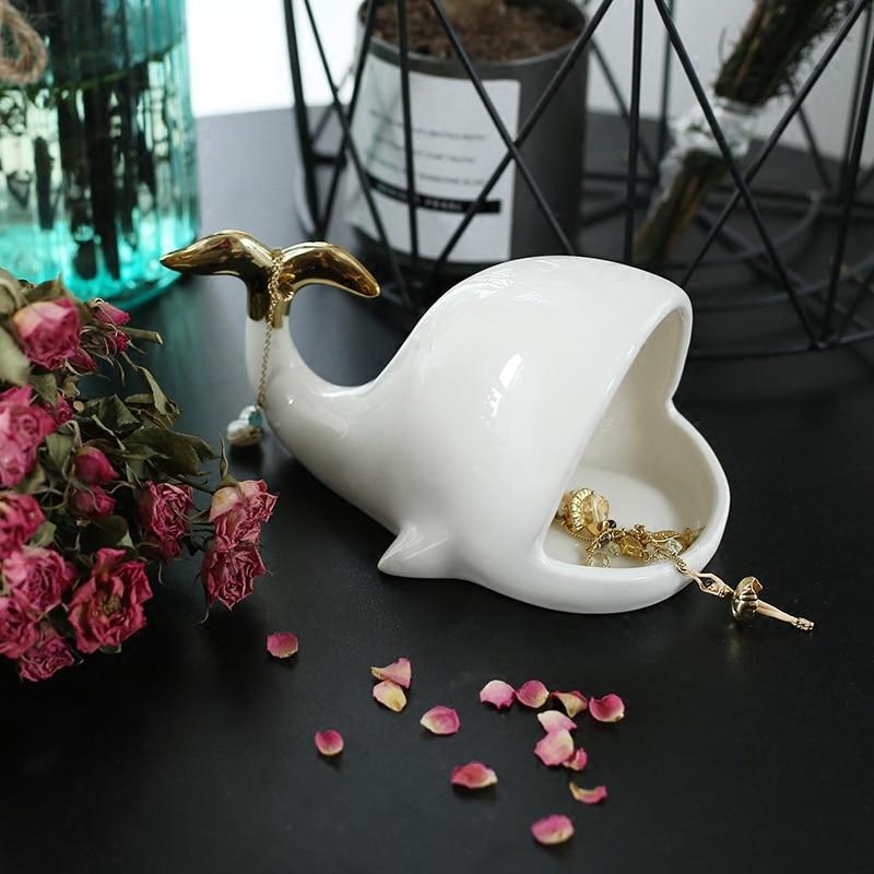 Céramique blanc teckel anneau bijoux stockage décor à la maison porte-savon décoration mariage porcelaine Figurine baleine porte-bijoux
