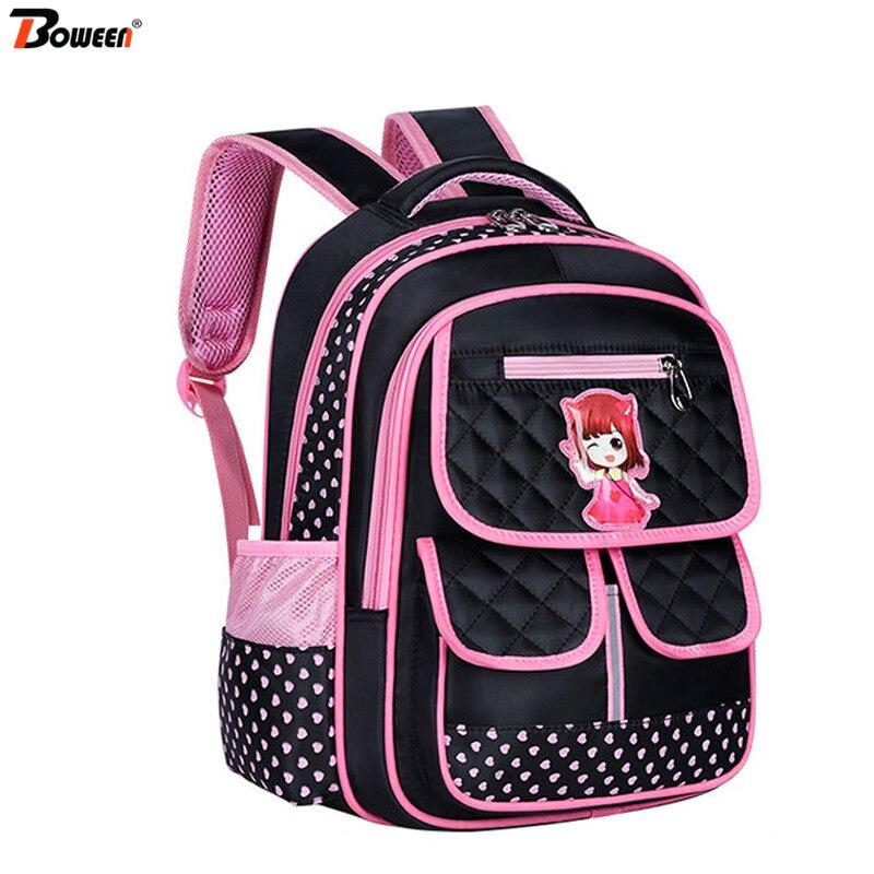 Children Girls Waterproof Pu Primary Backpacks Kids Orthopedic Princess School Bag