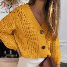 Женский короткий кардиган вязаный свитер джемпер с длинным рукавом