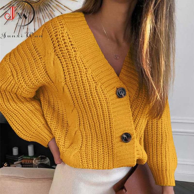 Cardigan court tricoté à manches longues et col en V pour femmes, pull-over décontracté à la mode, collection automne-hiver