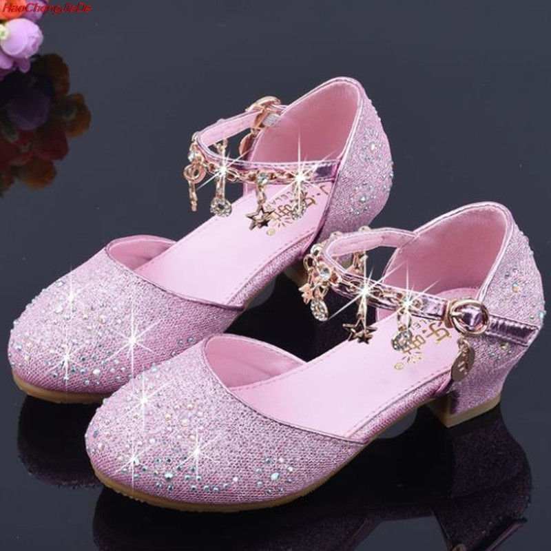 Girls Sandals Rhinestone Butterfly Pink Latin Dance Shoes 5-13 Years Old 6 Children Summer High Heel Princess Shoes Kids