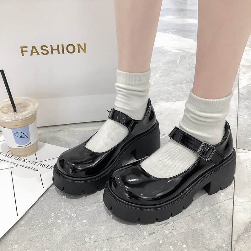 Rimocy Patent Leather Mary Jane Shoes for Women 2020 Autumn Chunky Platform Ankle Strap Pumps Woman Thick Bottom Lolita Shoes