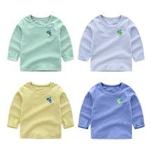 Детская футболка Новинка весны года, стильная Базовая рубашка в Корейском стиле с героями мультфильмов Топ для маленьких мальчиков с длинными рукавами, поколение полных