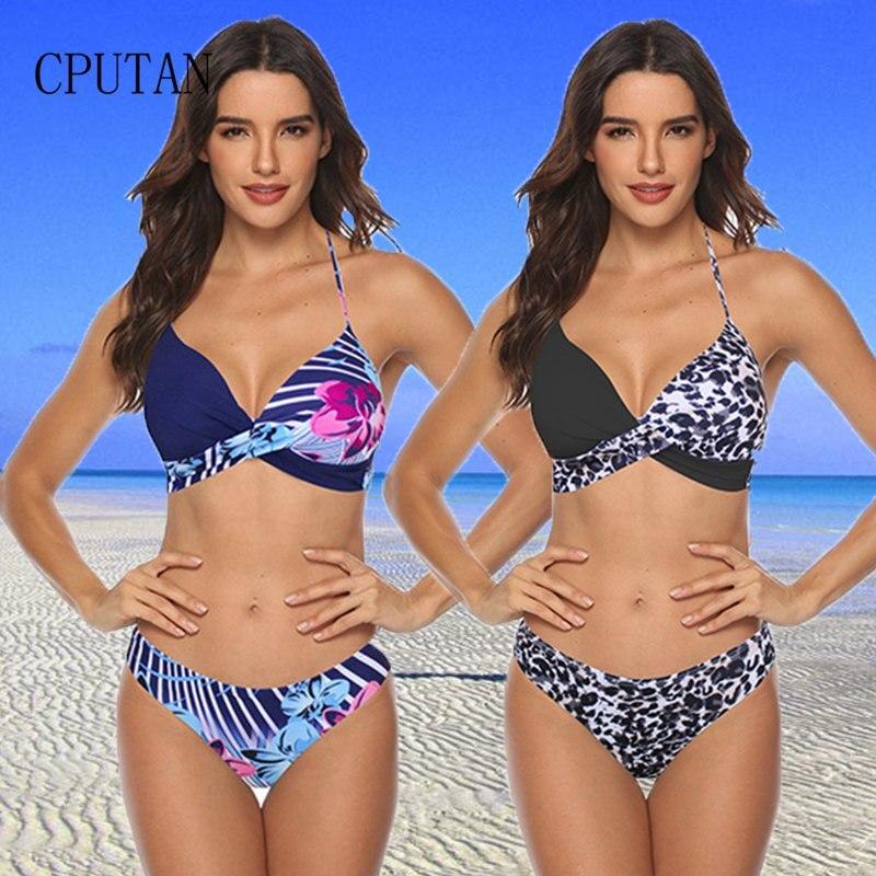Sexy Bikinis Women Swimsuit High Waisted Bathing Suits Swim Halter Push Up Bikini Set Pachwork Plus Size Swimwear Beachwear 3XL