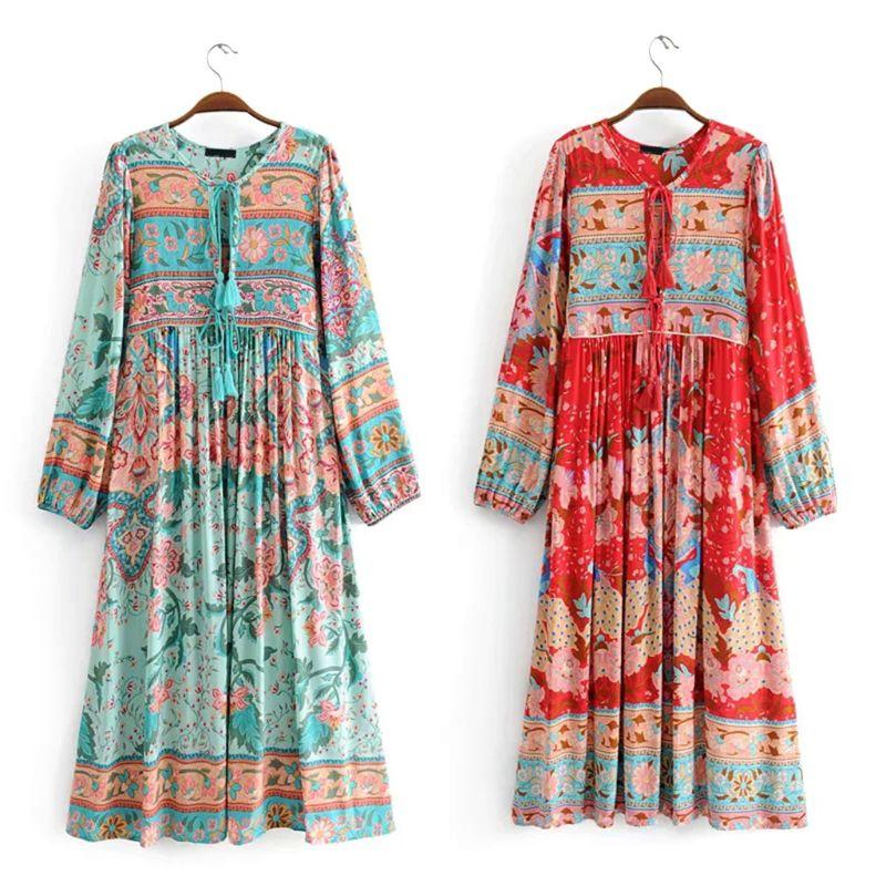 Womens Ethnic Long Lantern Sleeves Bohemian Floral Print RetroTassels Drawstring Swing Midi Dress S-XL