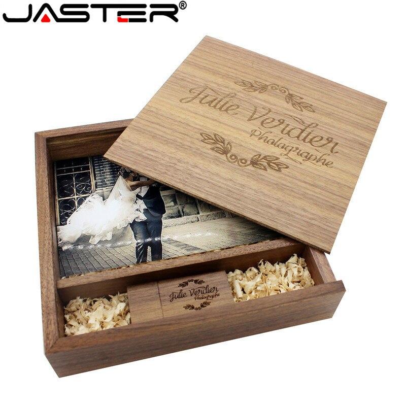 JASTER maple Album fotograficzny drewno usb + pudełko Pendrive Pendrive 8GB 16GB 32GB 64GB fotografia prezent darmowe LOGO (170*170*35mm)