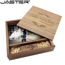 JASTER-álbum de fotos de madera de Arce, memoria usb + caja, Pendrive, 8GB, 16GB, 32GB, 64GB, logotipo de regalo gratis (170x170x35mm)