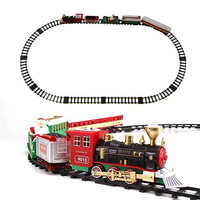 Christmas Train Model Classic Electric Simulation Rail Road Toy Steam Smoke Santa Claus Cabin New Year Decoration Kids Gift Xmas