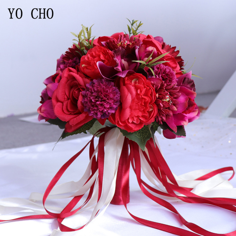 YO CHO Artificial Roses Wedding Bouquet For Bride Wedding Flowers Bridal Bouquets Silk Bridesmaids Bouquet Mariage Accessories