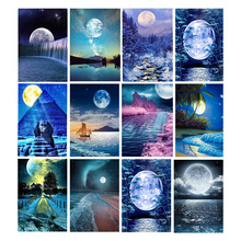 Full Square Drill Diamond Painting Moon Night River Scenery Diamond Mosaic Landscape Picture Rhinestone Painting Home Decor
