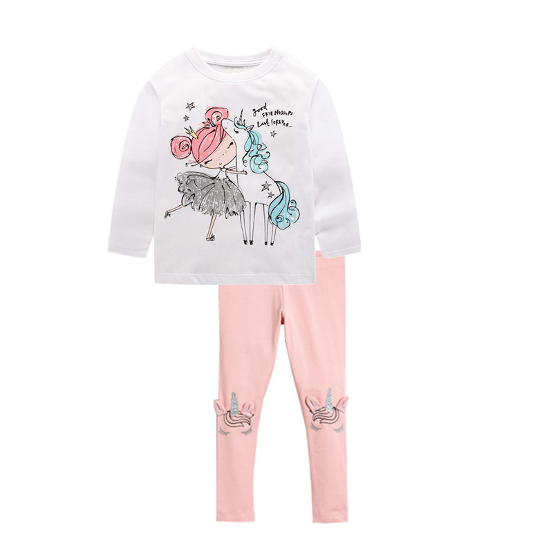 VIDMID girls cotton clothing set kids cartoon t-shirt and pants baby girls long sleeve clothing suits children clothes sets W01 6