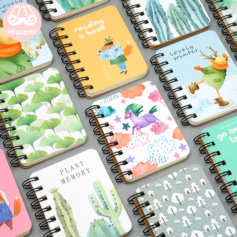 Mr Paper 24 Designs Hardcover Pocket Coil Notebooks Moose Unicorn Cactus Forest Leaves Daily Planner Notebooks Easy To Carry