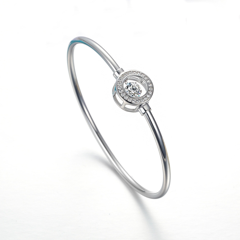 ORSA JEWELS Real 925 Sterling Silver Women Bracelets&Bangles AAA Cubic Zircon Perfect Polished Fashion Women Bangle Jewelry SB11