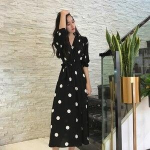 Image 3 - Robe longue à col en v, robe à pois, demi manches, robe féminine, SuperAen, Style coréen, à la mode, nouvelle collection été décontracté