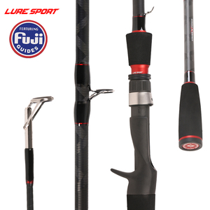 LureSport Travel Fsihing Rod 2.1m/2.4m FUJI Guide Reel Seat X-Cross Carbon Spin Cast Lure Fishing Rod