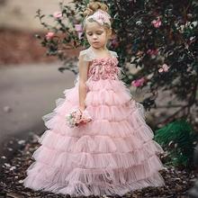 Красивое Розовое многослойное платье для девочек с капкейками