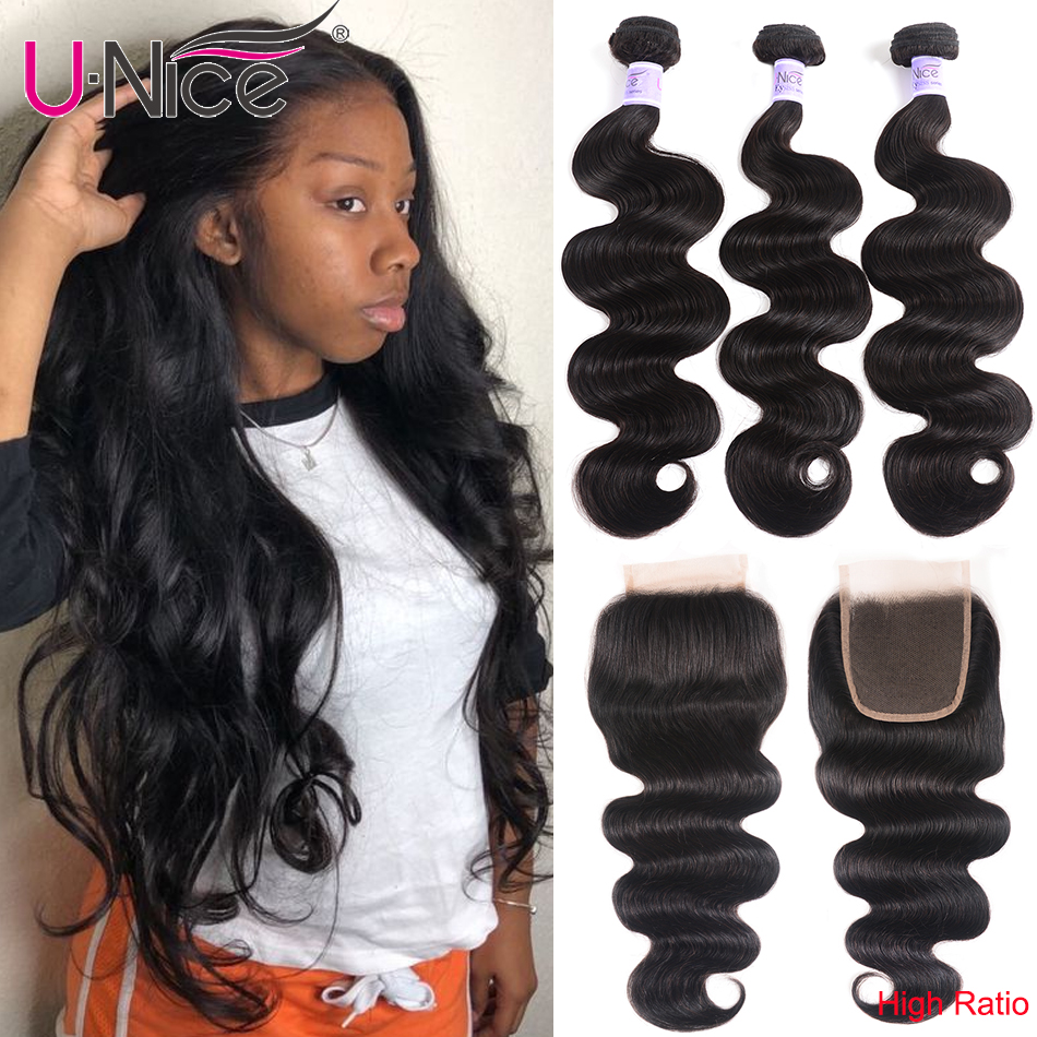 UNice Hair Kysiss Series Malaysian Body Wave 3 Bundles with Closure 100% Human Hair Body Wave Malaysian Hair With closure