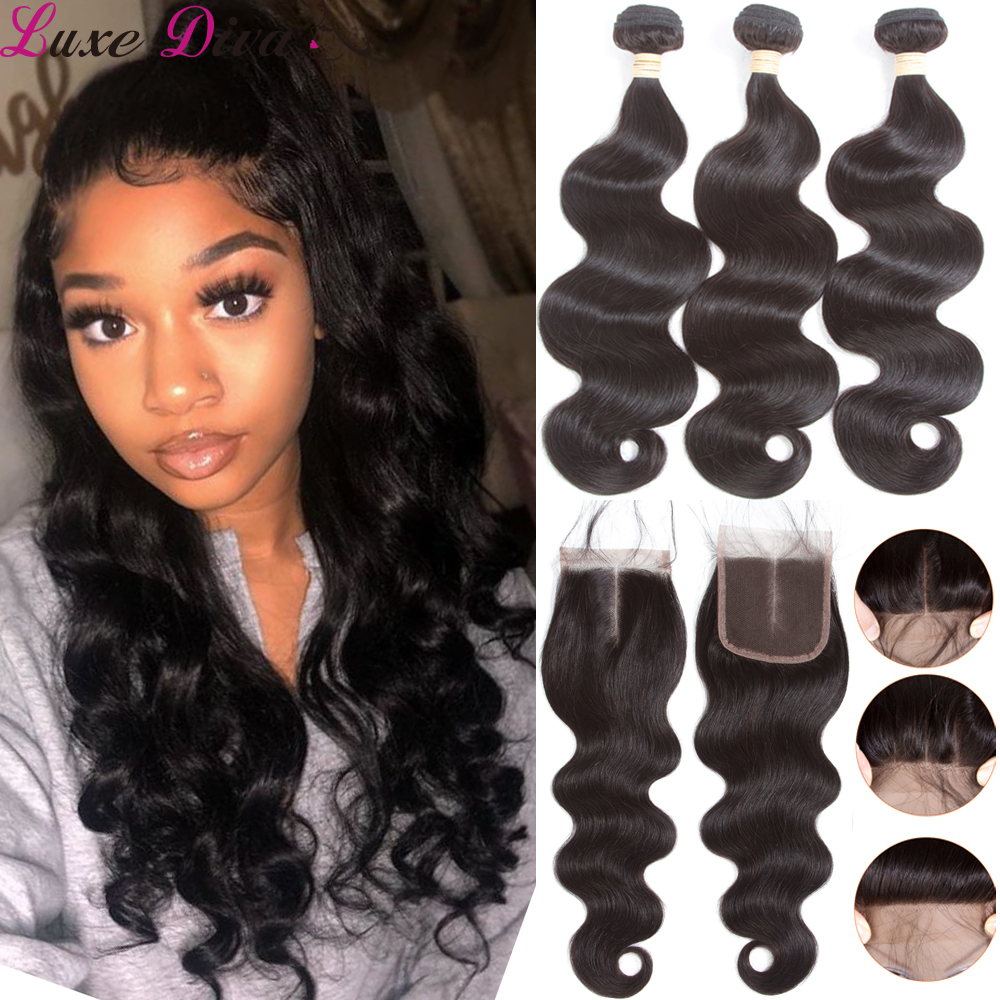 Luxediva Brazilian Body Wave 3 Bundles With Lace Closure Double Weft Remy Human Hair Bundles With Closure Pre-pluck Baby Hair