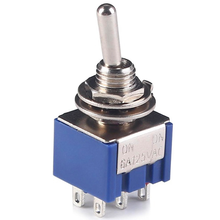 5pcs Deep Blue Mini 6 Pin 2 Position Toggle Switches ON-ON DPDT Mini Toggle Switch 6A/125V 3A/250V AC MTS-202 Navy SL