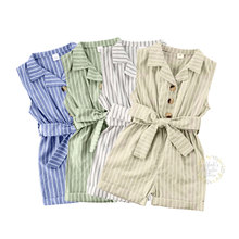1-6Y Toddler Baby Kid Girls Jumpsuit Summer Striped Bow Rompers Children Girls Costumes Sleeveless