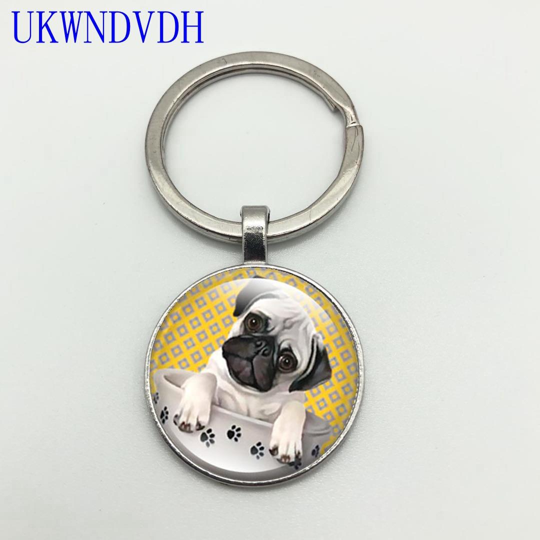 Teacup pug glass keychain pendant alloy key chain