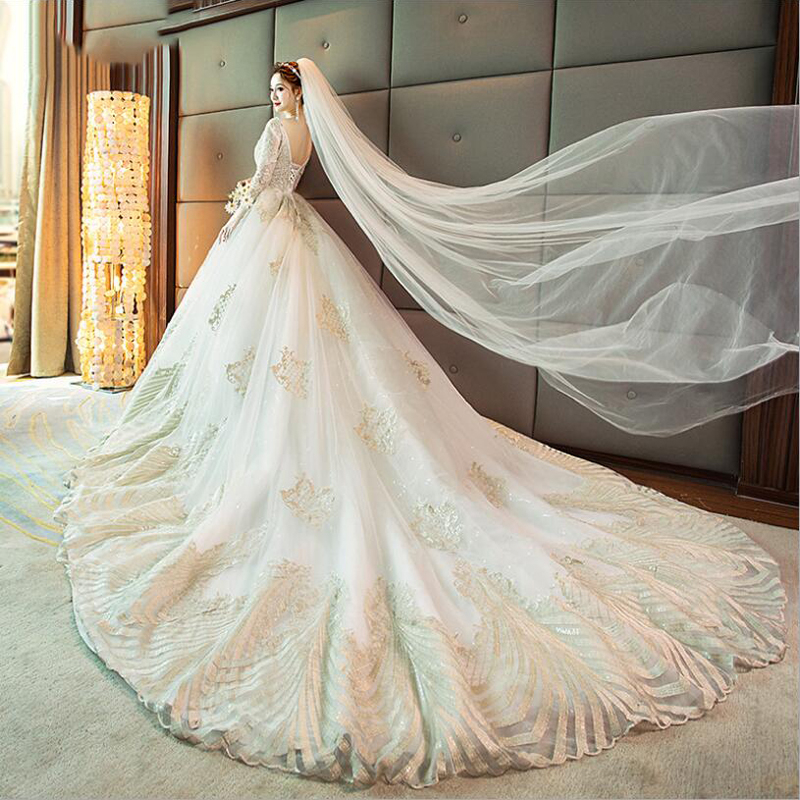 2019 Autumn New Arrive V Neck Long Sleeves Cathedral Trail Beading Applique Lace Wedding Dresses Robe De Mariee Vestido De Novia
