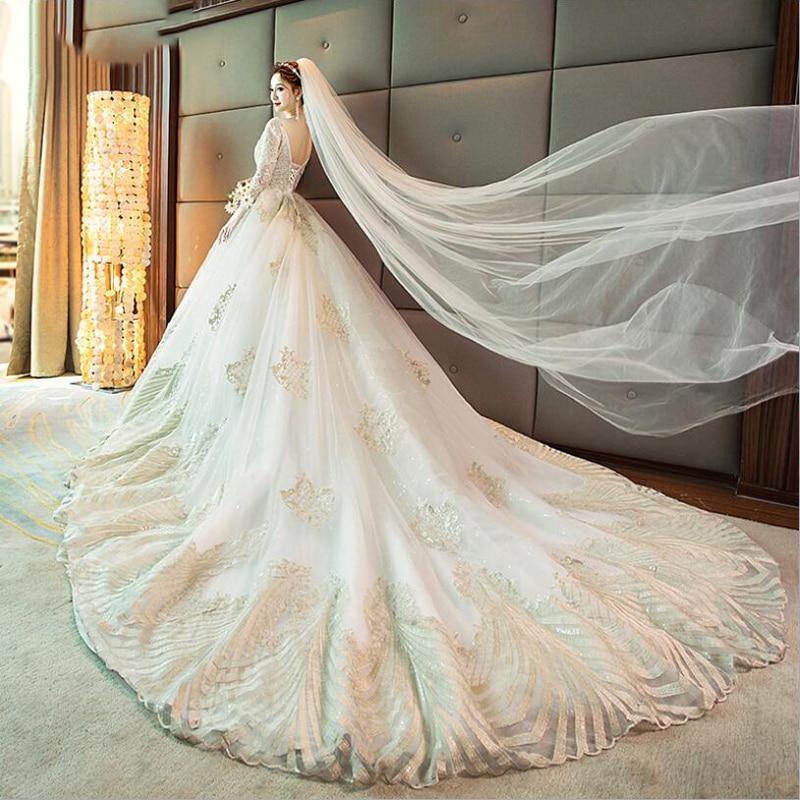 2019 Autumn New Arrive V Neck Long Sleeves Cathedral Trail Beading Applique Lace Wedding Dresses Robe De Mariee Vestido De Novia
