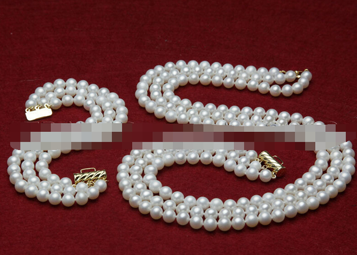 Fashion Women/'s 7-8mm Natural White Freshwater Pearl Necklace Earrings Set AAA