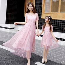 Summer Mother Doughter Matching Dress Embroidery Mesh Fairy Kid Children Mom And Baby Clothes Girl Princess Mummy Family Look