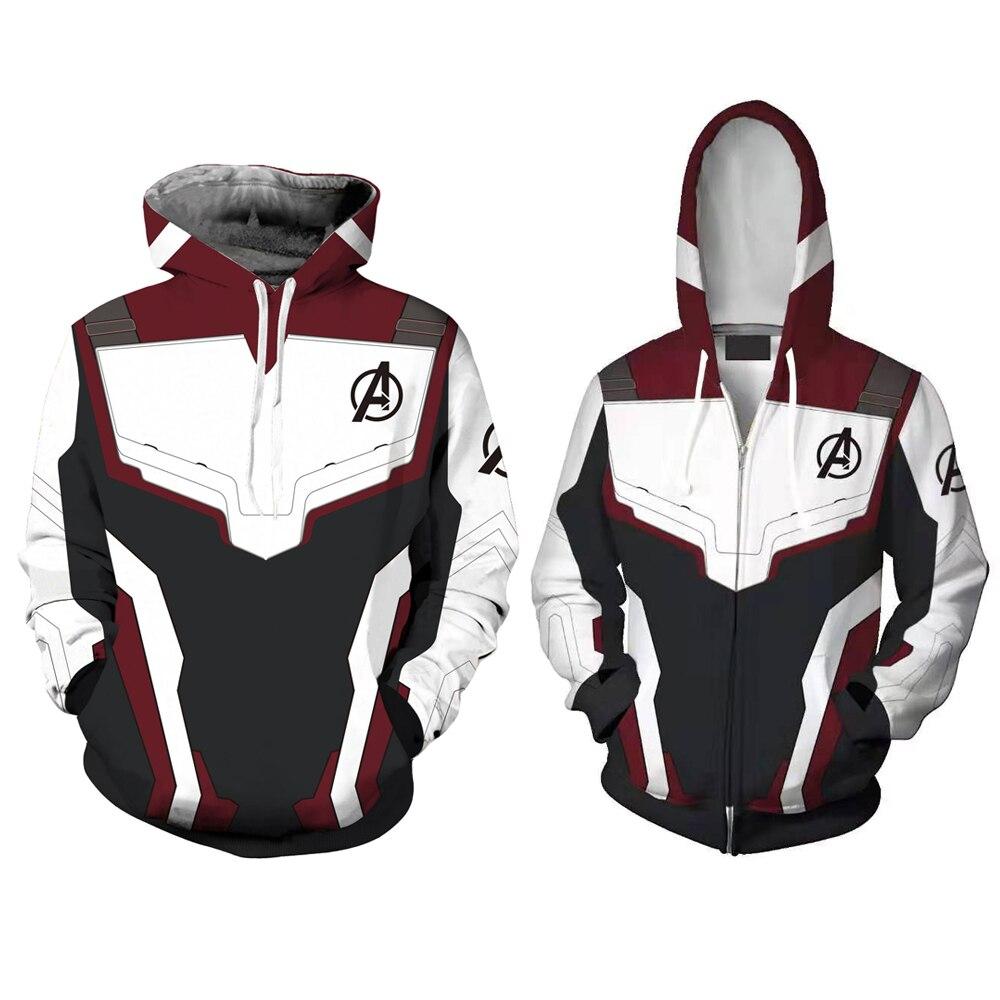 Men Women Avengers Endgame Realm Cosplay Hoodies 3D Pullover Sweatshirt Quantum Realm Superhero Zipper Jacket Costumes