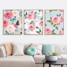 Картина с цветами розы в скандинавском стиле настенный постер