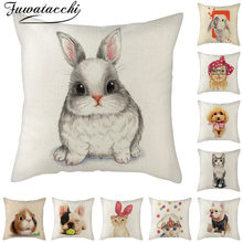 Fuwatacchi Pure Linen Cushion Cover Cat Dog Rabbit Pattern Pillow Cover for Home Chair Sofa Decorative Pillowcases 45x45cm(China)