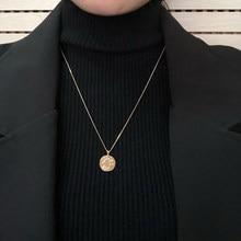 Colar geométrico redondo e camada de pérolas, novo colar feminino geométrico de pérolas, presente para meninas, joia simples, 2020 pingente