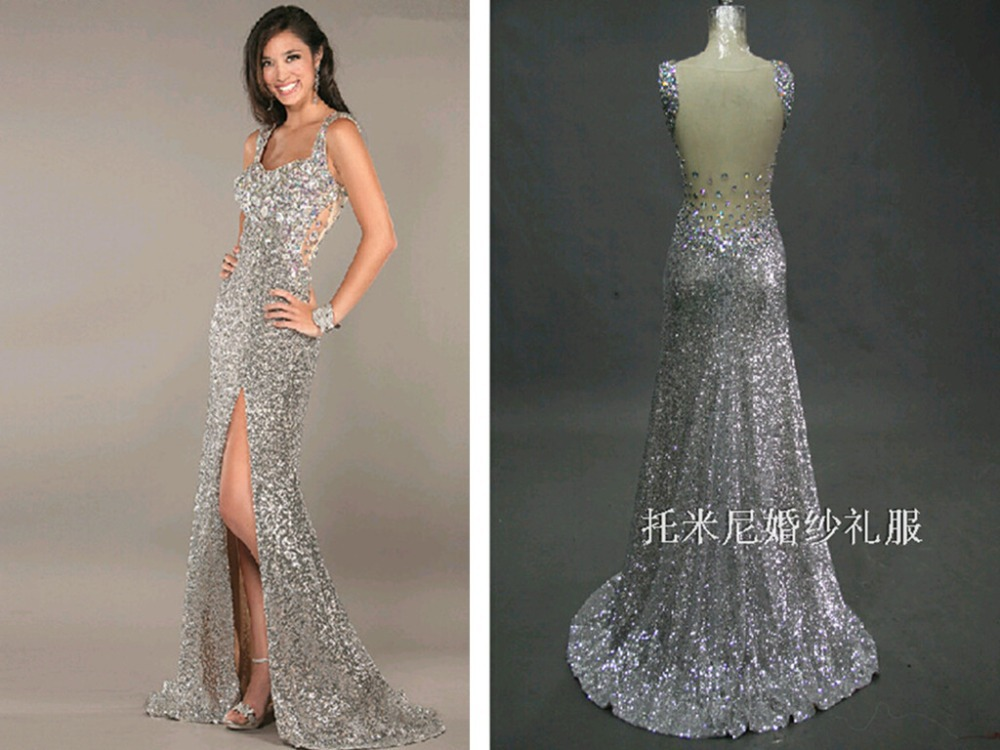 Crystal Sexy Silver Sequined Prom Gown 2018 New Floor Length A-line Party Evening Custom Summer Mother Of The Bride Dresses