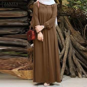 ZANZEA Women Vintage Dubai Abaya Turkey Hijab Dress Autumn Sundress Solid Muslim Islamic Clothing Long