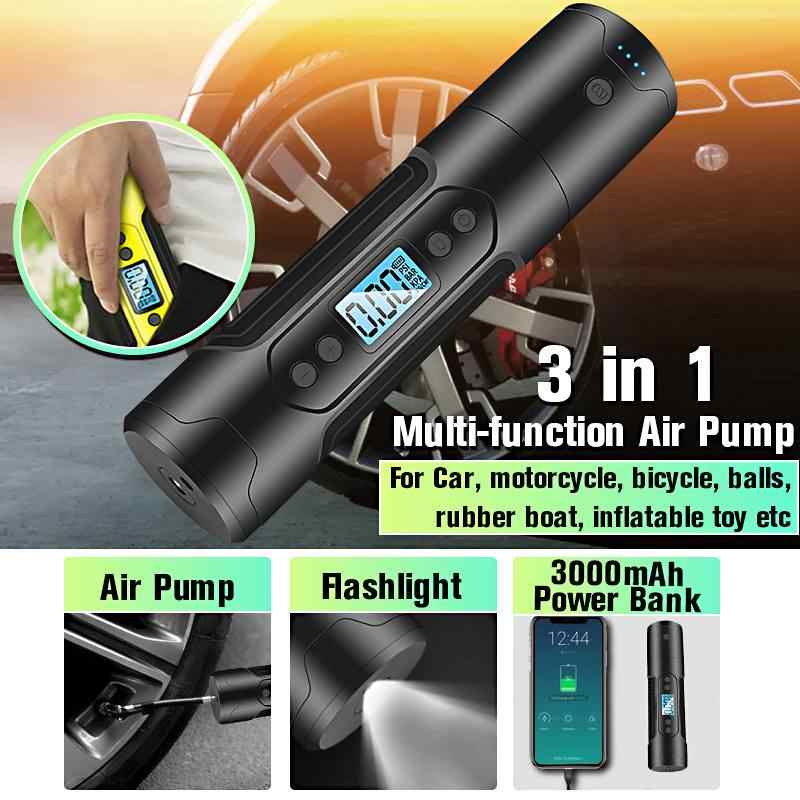 3000mAh 35L/min Portable Air Compressor 12V 150 PSI Tire Inflator For Car Motor Bicycle Tire Pump With Digital Gauge LED Light