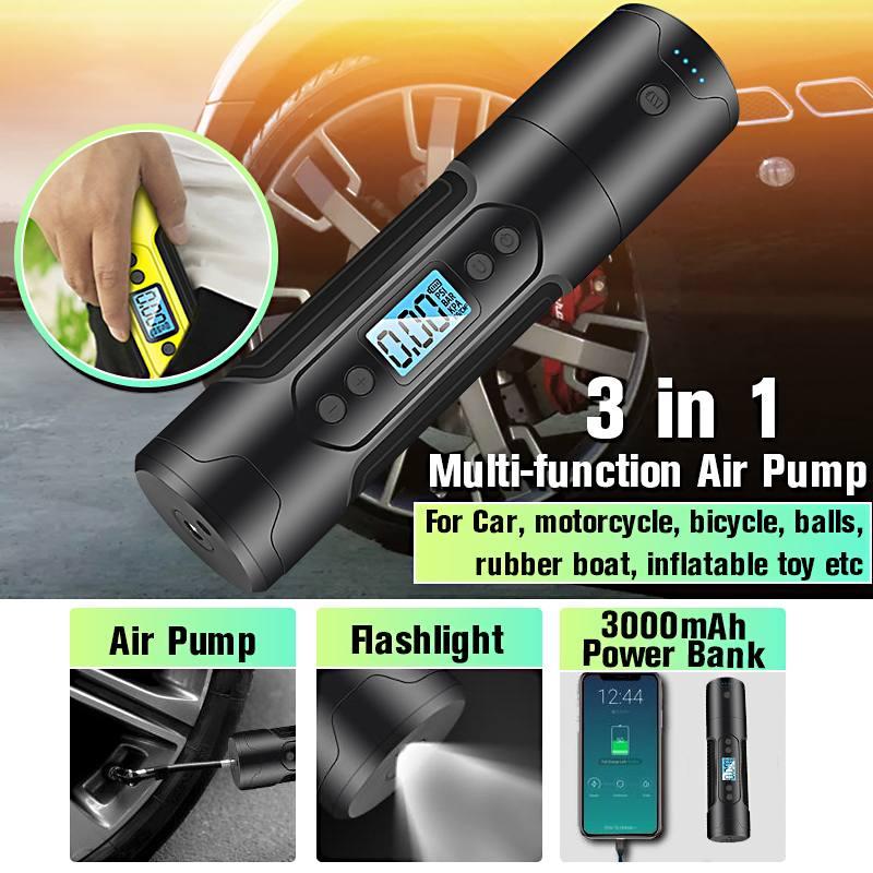 3000mAh 35L/min Portable Air Compressor 12V 150 PSI Tire Inflator For Car Motor Bicycle Tire Pump With Digital Gauge LED Light
